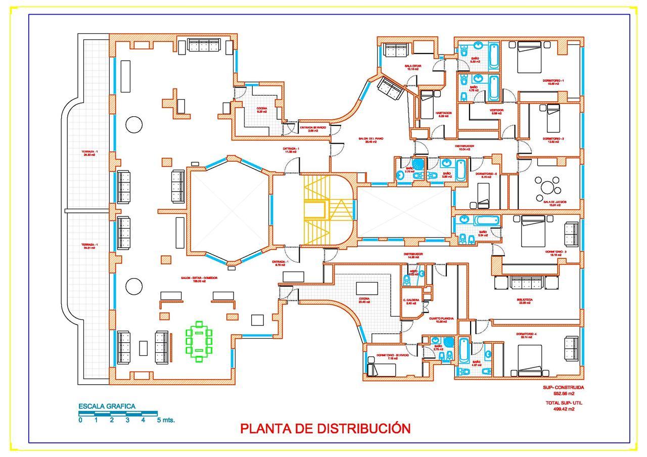 Planos y proyectos de arquitectura for Distribucion de una casa de una planta